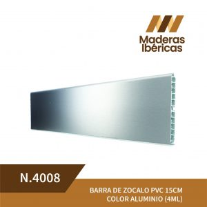 BARRA DE ZOCALO PVC 15CM COLOR ALUMINIO (4ML)